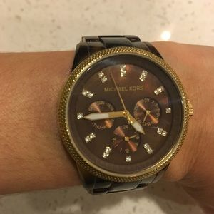 Michael Kors Gold & tortoiseshell watch